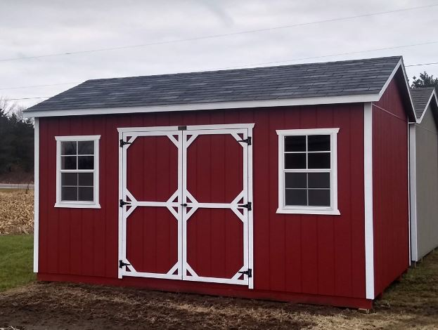 10x16 Gable Shed by BC Barns *Options: Red & White Paint, 2 Windows, Gable Overhangs, 6ft Doors