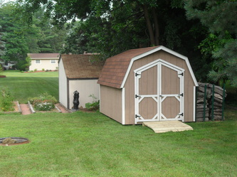 8x12 Gambrel Shed by BC Barns *options: Clay & White Paint, 4x4 Ramp